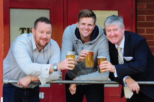 Launching Dipple & Conway's centenary celebration ale at the Fat Cat Brewery are (L to R) Break charity fundraising manager Martin Green, TV broadcaster and patron of Break Jake Humphrey, Dipple & Conway director Damian Conway Picture Credit Newsmakers PR