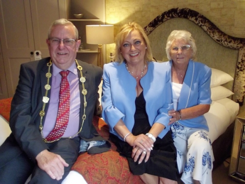 Left to right: The Lord Mayor of Norwich, Councillor David Fullman, Jenny Sadler and Dorothy Watts pictured in the refurbished Cathedral Suite, Maids Head Hotel