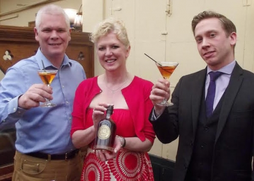 left to right: Matt and Steph Brown, creator's of Nelson's Gold with Adam Youngman, Maids Head Hotel and the Nelson's Golden Apple Cocktail.