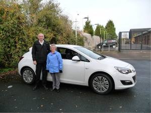 Barry and Margaret Phillips with their new car