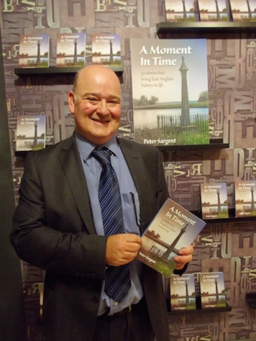 Peter Sargent at the launch of A Moment in Time in Jarrold book department.