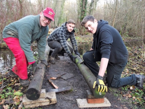 Fairhaven gardeners at work on phase two of the Main Bridges Path, left to right: John Debbage, Michael Hadji and Lewis Goldspink. Photograph credit Fairhaven Garden