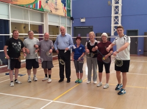 Cllr FitzPatrick with members of Sheringham Badminton Club and coach, James Tuthill