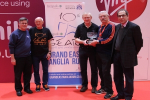 Photo shows from left to right Paul Wood, Chairman of Barr, Pete Duhig, Assistant Race Director, Roger Partridge Race Diretor, David Beford, Keyvan Djamarani, Bespak MD.