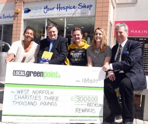 Left-Right - Almaz Gaere (West Norfolk Recycling Rewards) David Shaw (West Norfolk mind) Debbie Crown (Scotty's Little Soldiers) Jessica Walker (The Norfolk Hospice) Councillor Ian Devereux (BCKLWN cabinet member for Environment)