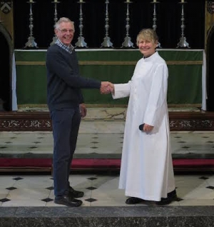Rev Catherine Relf-Pennington is welcomed by head churchwarden Bernard Douglass.