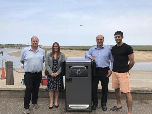 Picture caption (from left to right): Marcus French, of French's Fish and Chips; Cllr Annie Claussen-Reynolds, North Norfolk District Council Cabinet Member for the Environment; and Philip Platten and Luke Platten, of Platten's Fish and Chips.