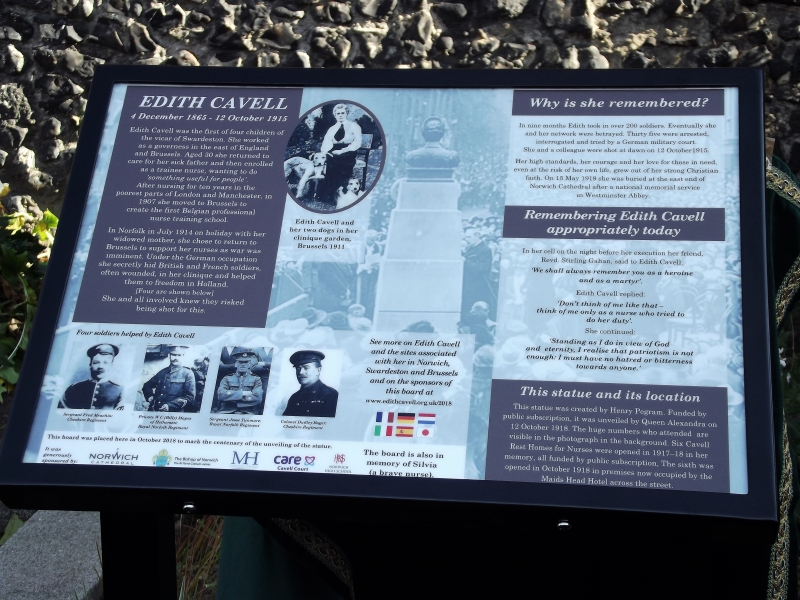 New Edith Cavell Interpretation Board Unveiled in Tombland