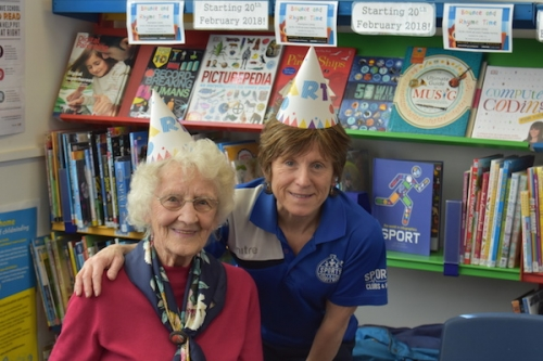 Joyce Irvine celebrates her 90th birthday with Wyn Nurse, North Norfolk District Council's Senior Sport Activator, during the seated exercise class in Sheringham