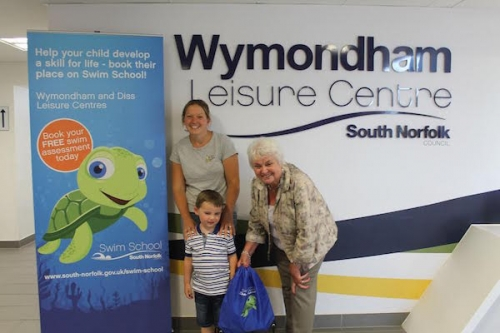 Councillor Yvonne Bendle with Rebecca and Noah Harris and Turbo